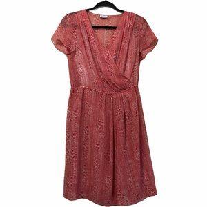 DKNYC red printed faux wrap dress